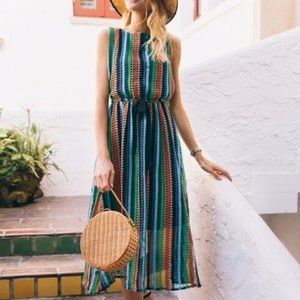 Anthropologie Rainbow Crochet Midi Dress